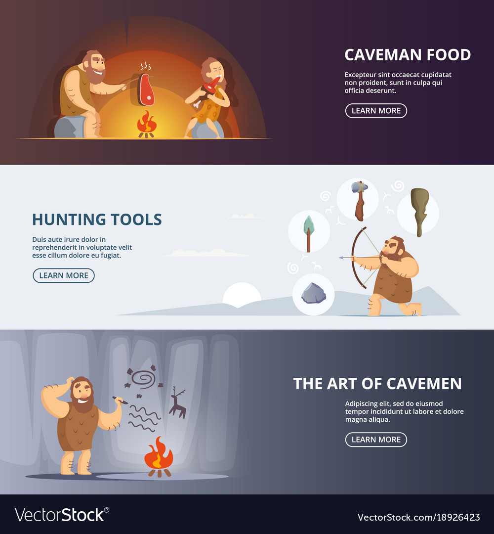 Caveman and woman in prehistoric period banners