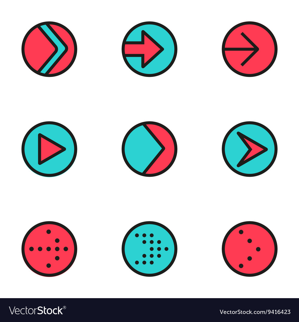 Flat color line arrow circle icons set