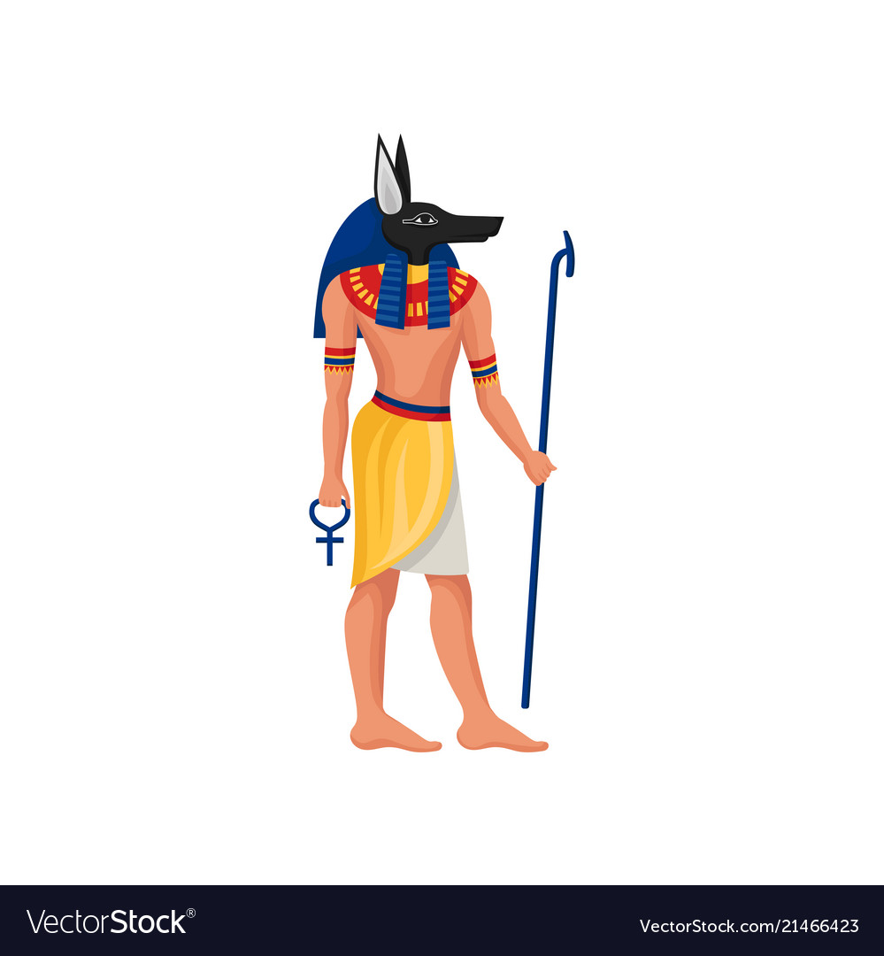 Flat Icon Of Anubis Ancient God Of Egypt Vector Image