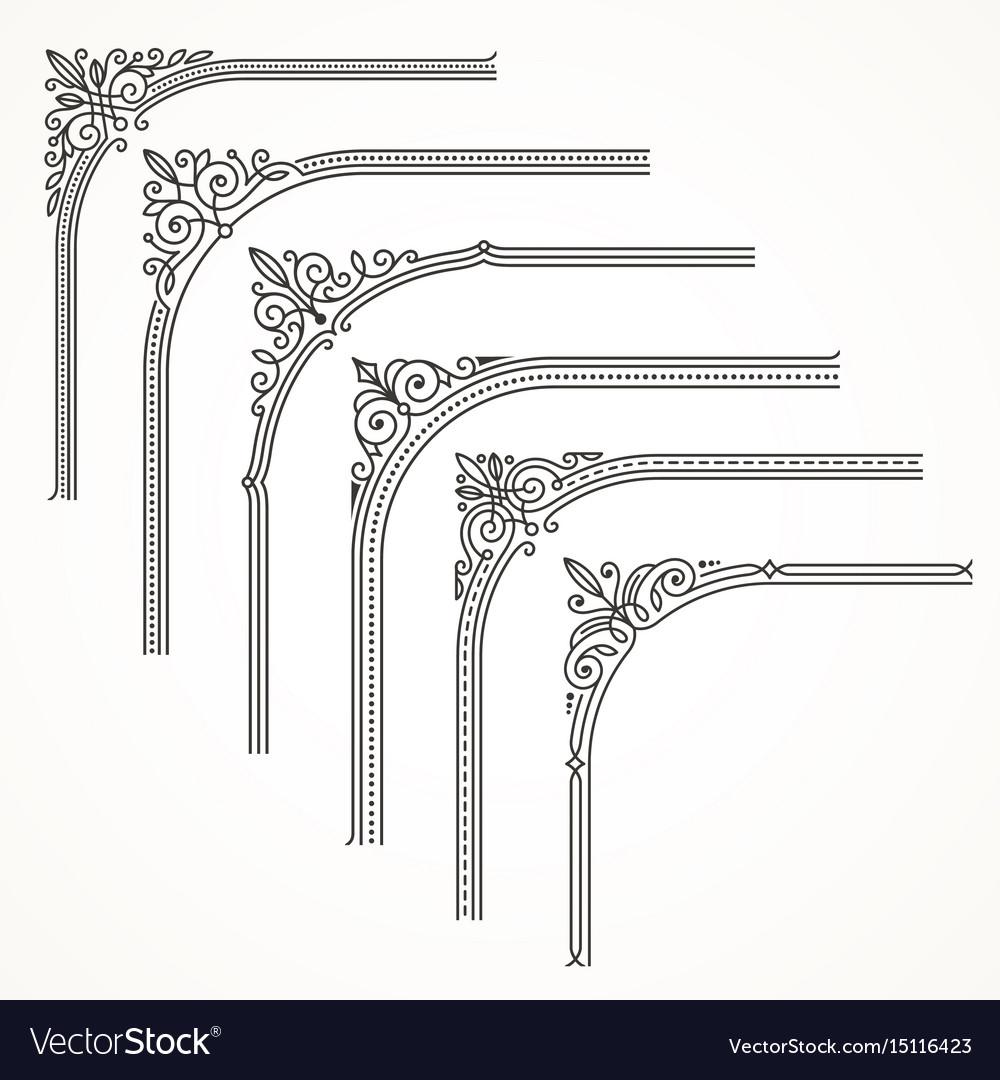 Flourishes ornate frame or corner design elements