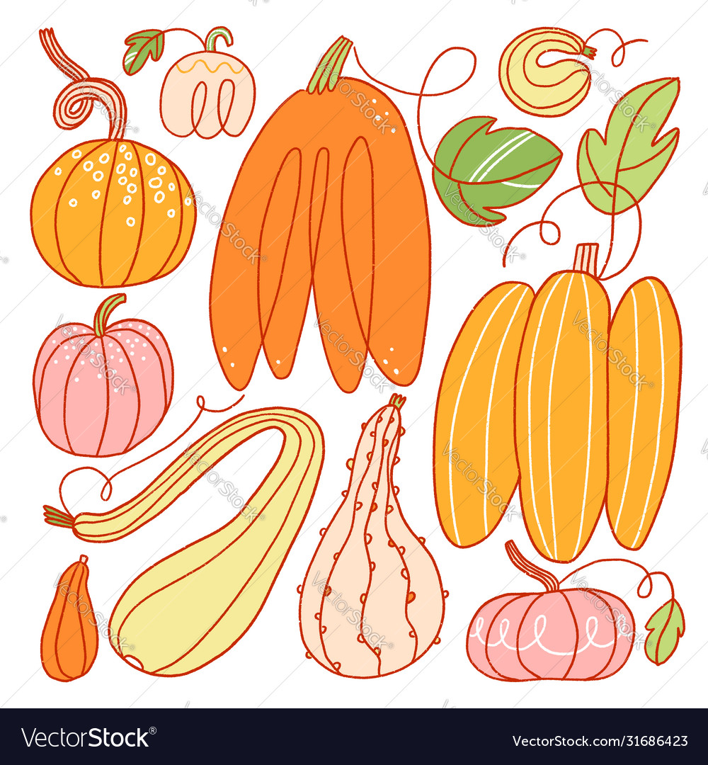 Freaky abstract pumpkins set