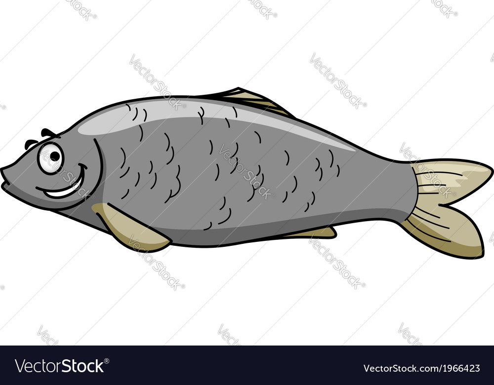 Funny cartoon fish with a happy smile