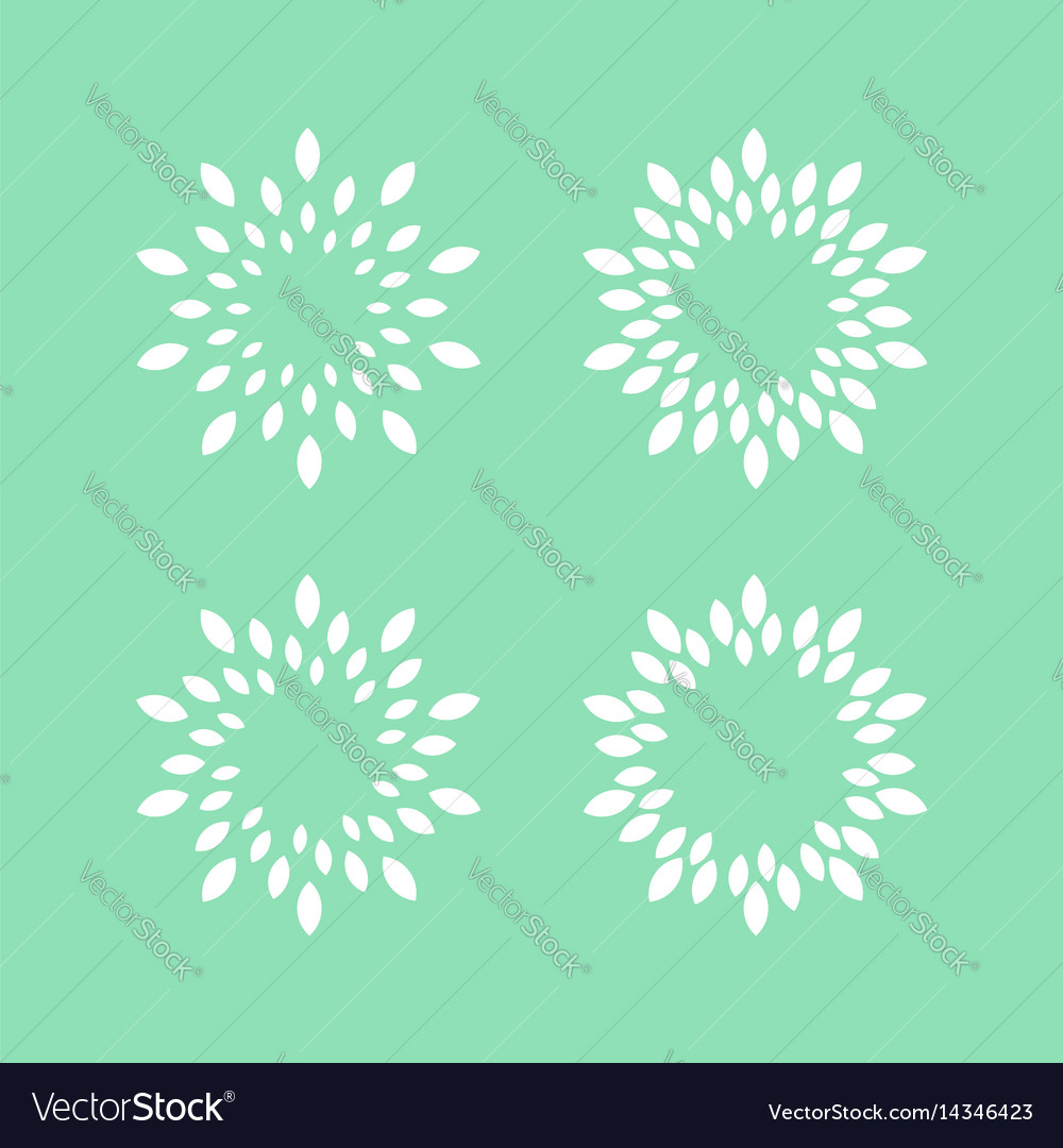 Halftone leaves in circle shape round dotted logo vector image
