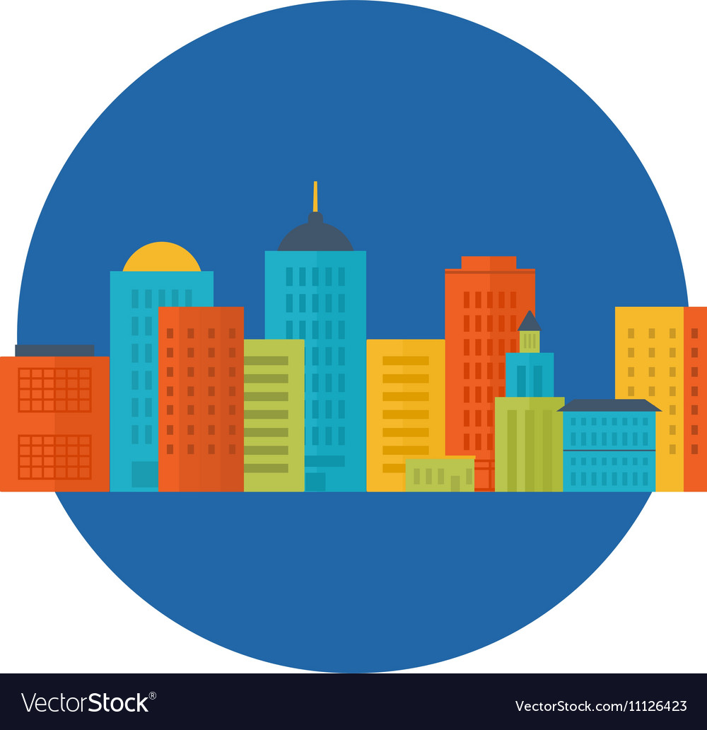 Icons set of urban landscape vector image