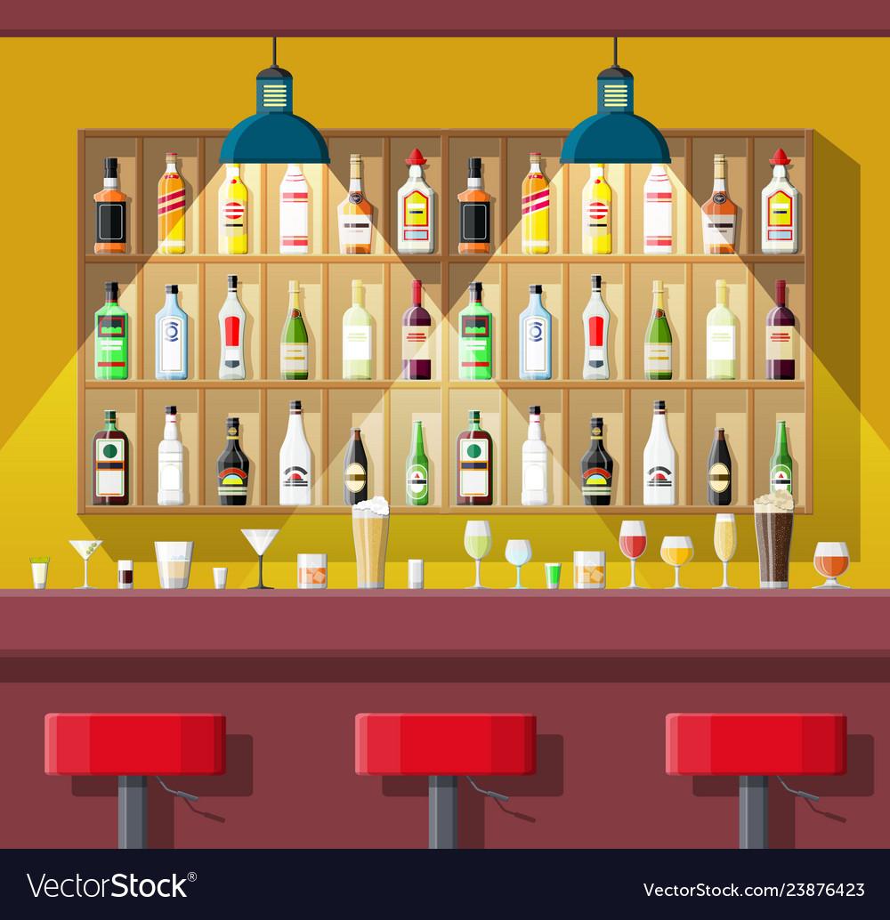 Interior of pub cafe or bar