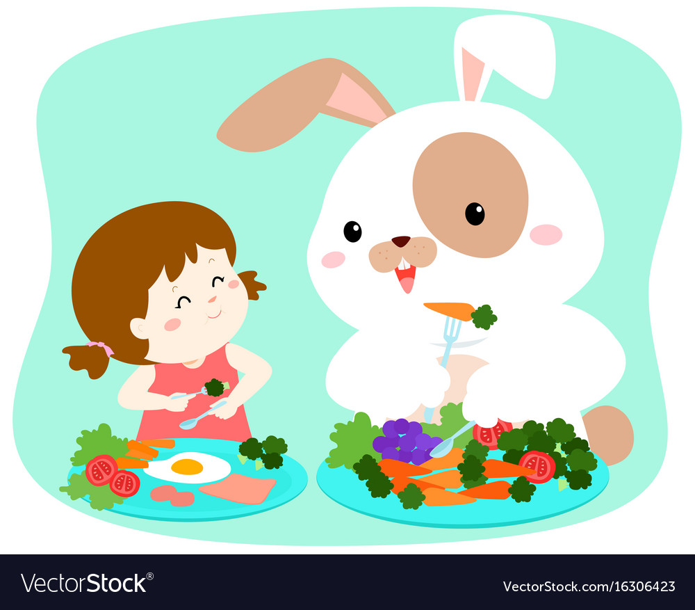 Little cute girl eating vegetable with fluffy
