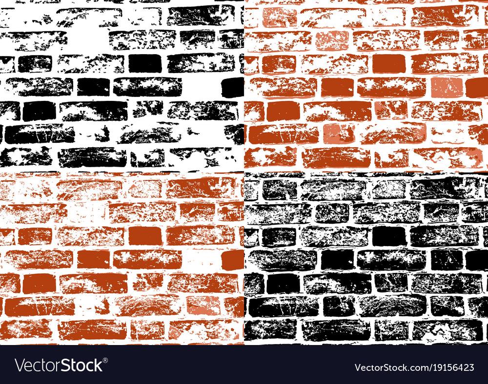 Set of grunge brick wall textures