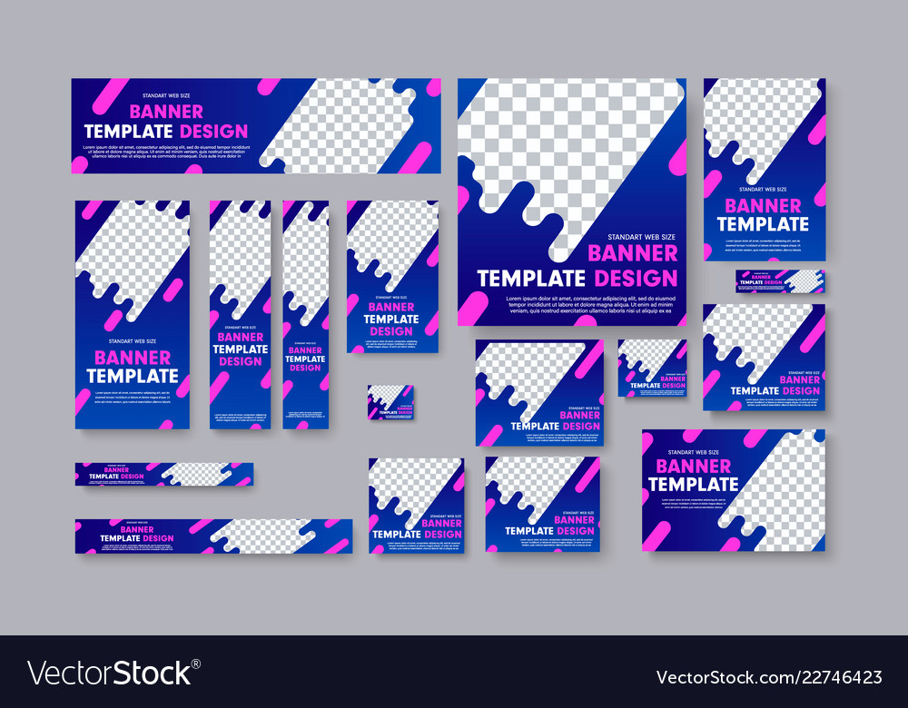 Set of web banners with blue gradients pink