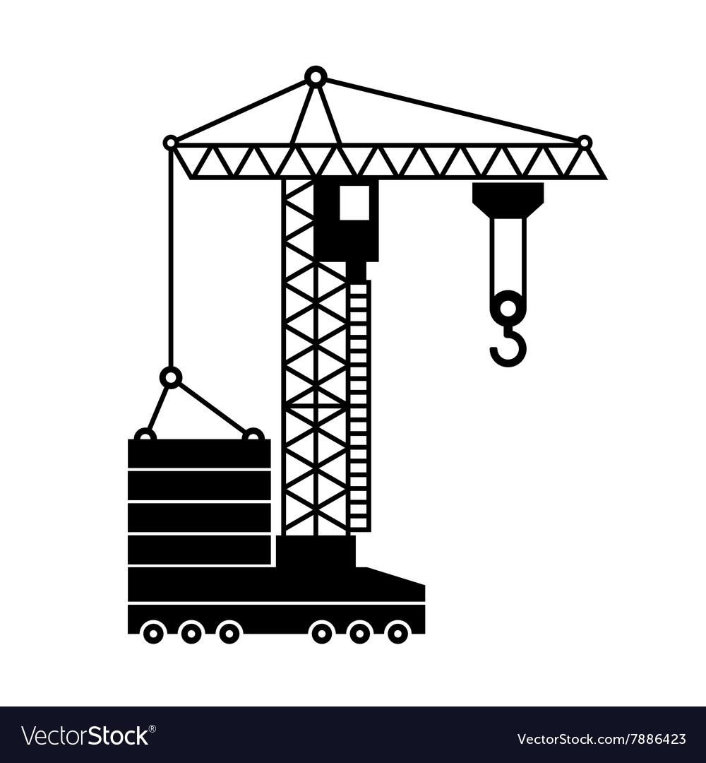 Tower Crane Icon in White Background