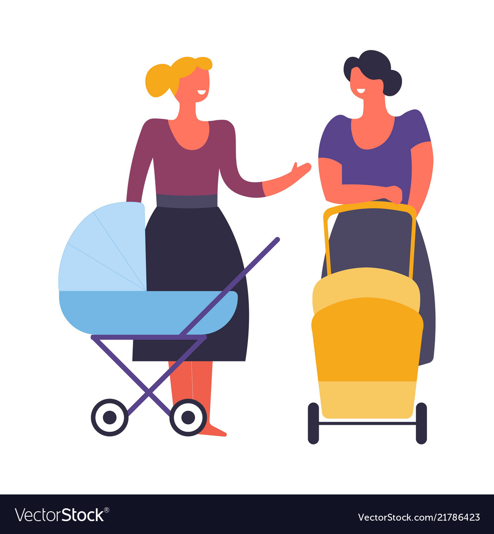 Women mothers with prams and babies walking