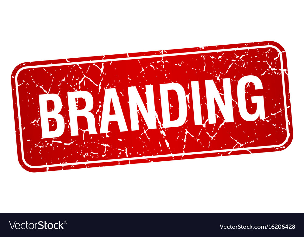 Branding red square grunge textured isolated stamp vector image on  VectorStock