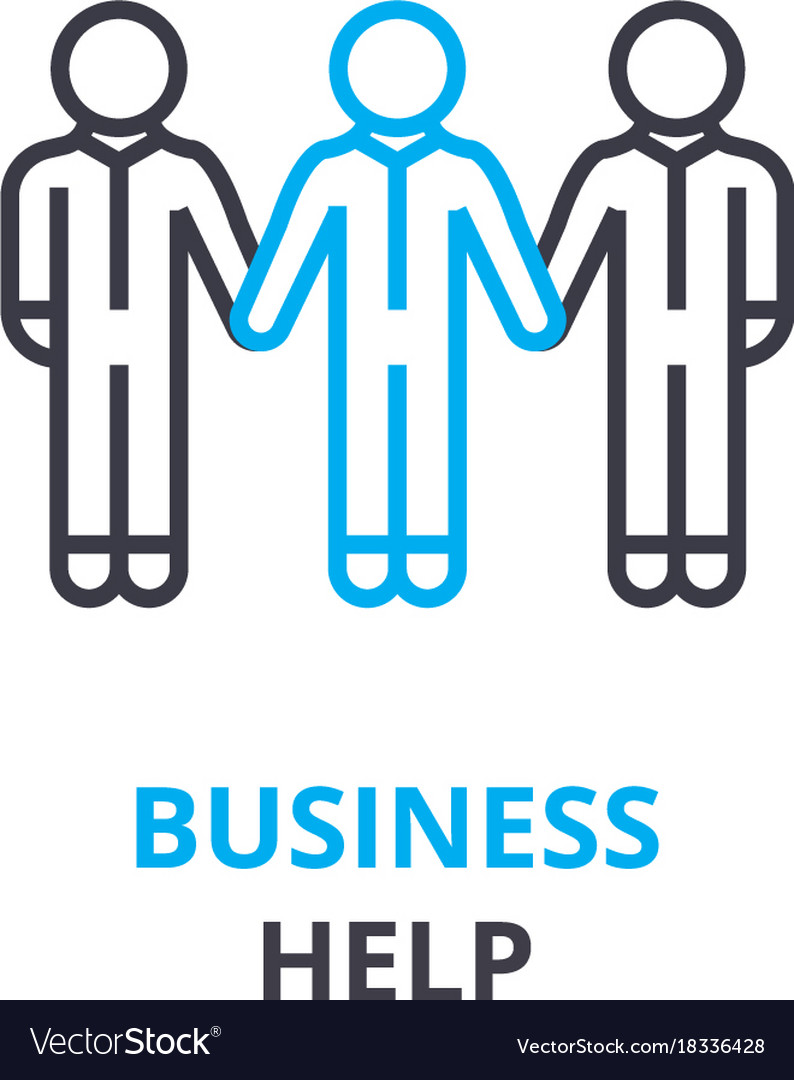 Business help concept outline icon linear sign
