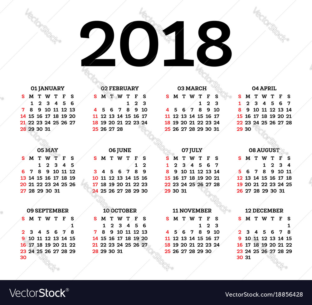Calendar 2018 isolated on white background