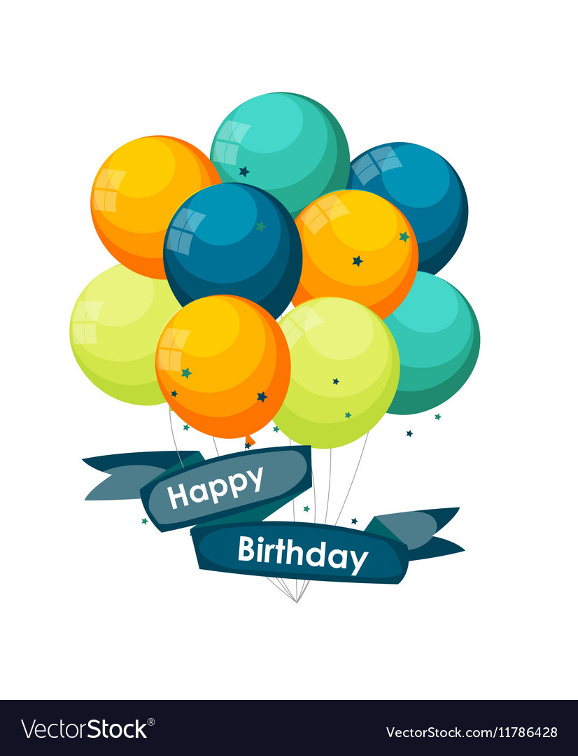 Color Glossy Happy Birthday Balloons Banner