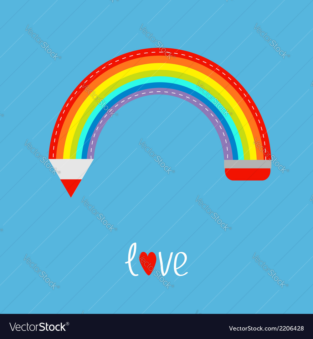Colored pencil in shape of rainbow in the sky Love