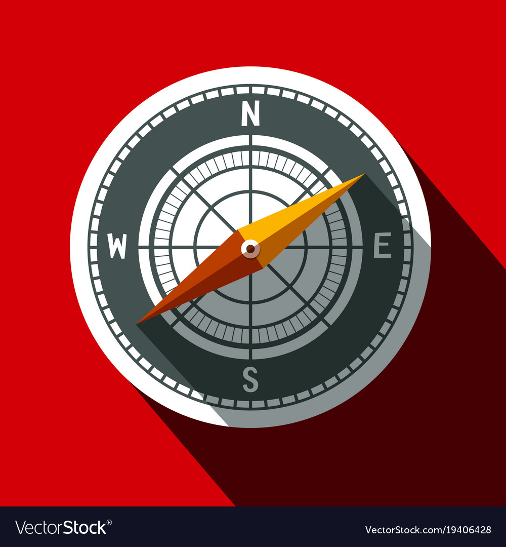 Compass symbol long shadow flat design circle icon vector image