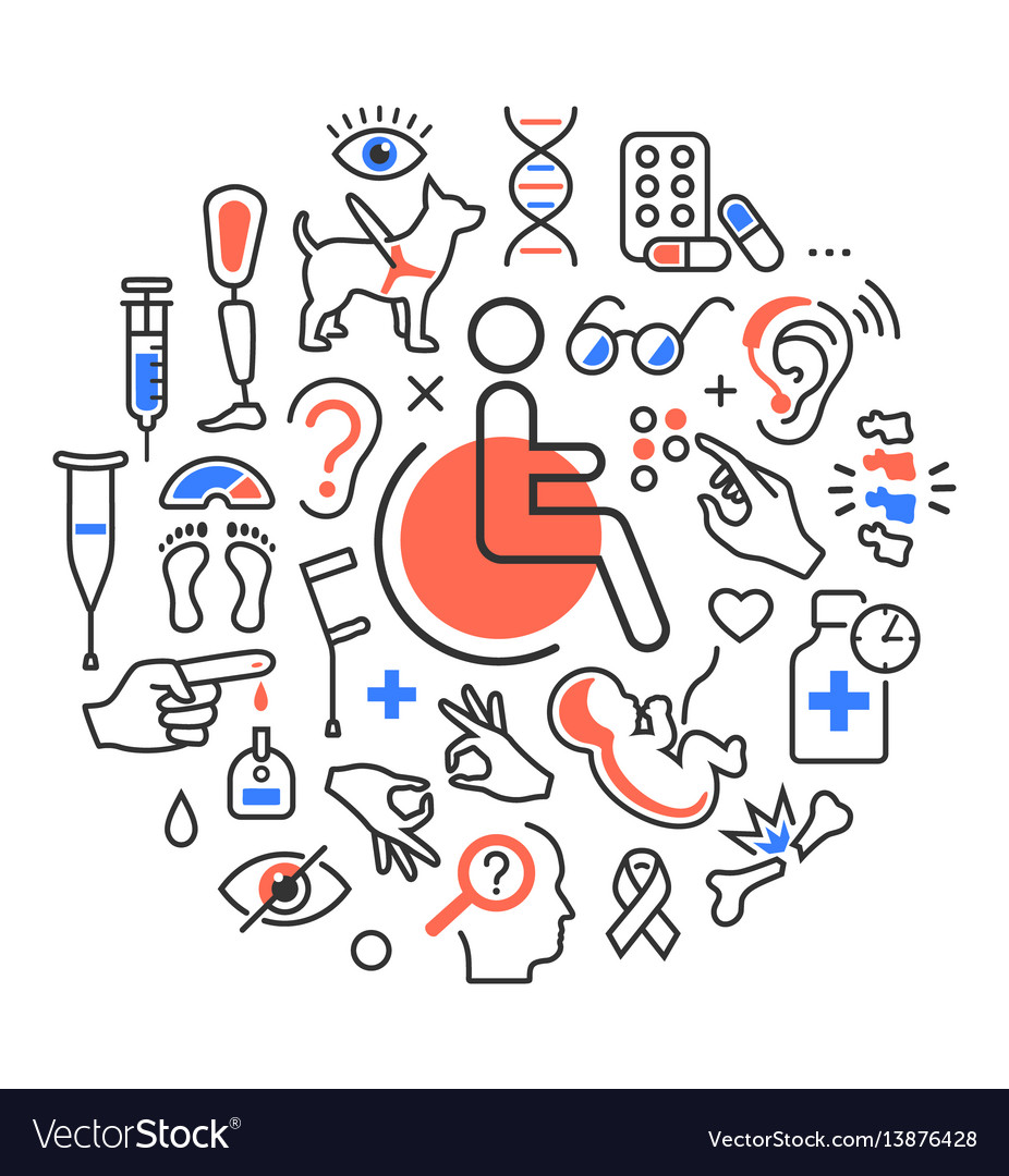 Disability concept medical icons signs isolated on