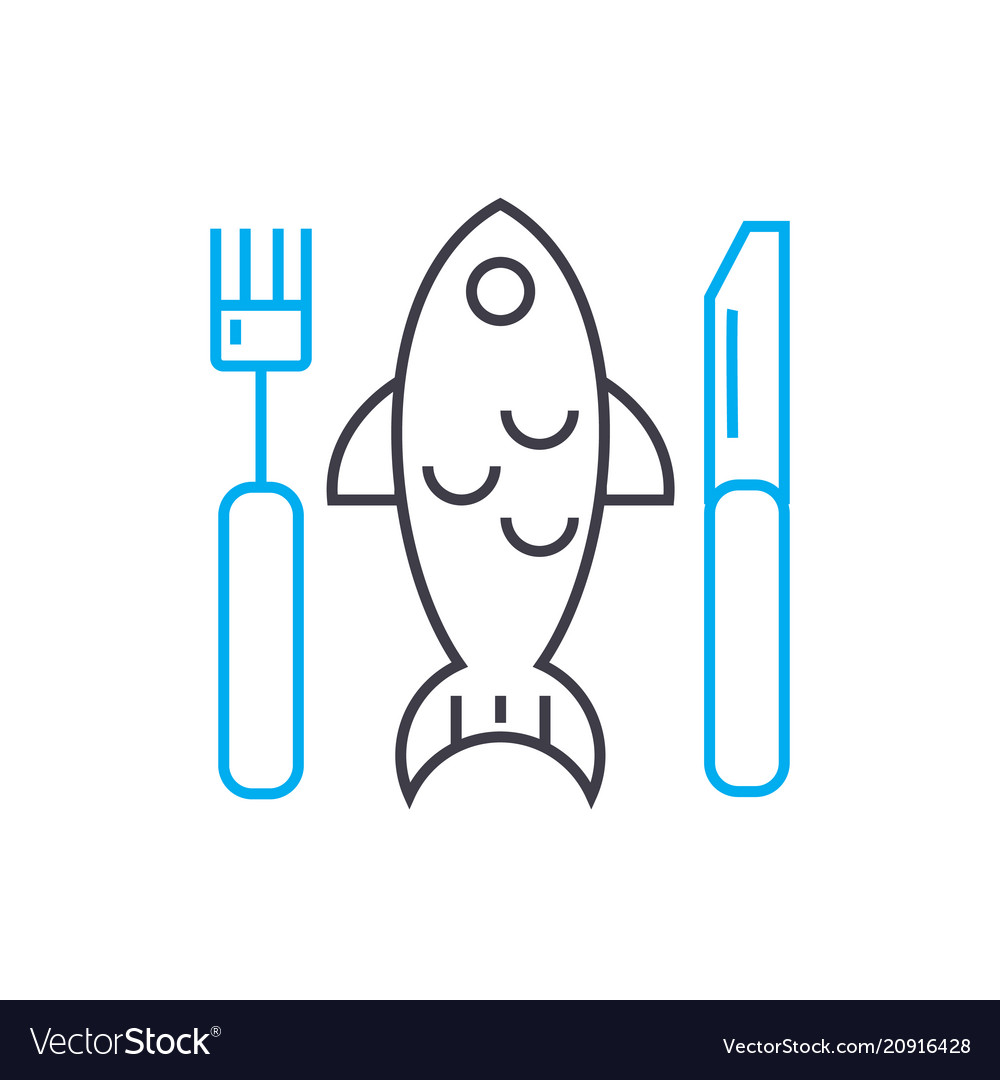 Fish plate linear icon concept fish plate line vector image