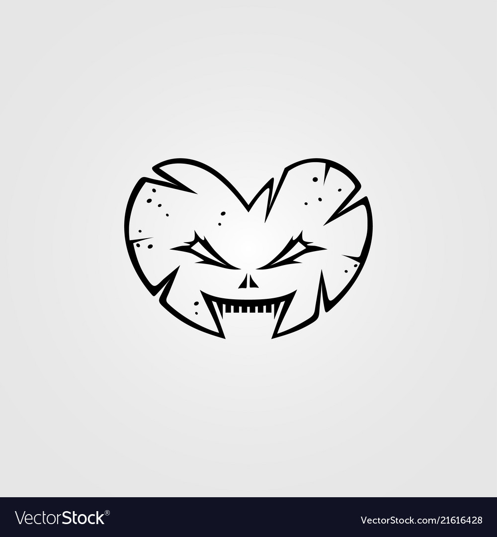Love Heart Shaped Monster Character Sign Symbol Vector Image