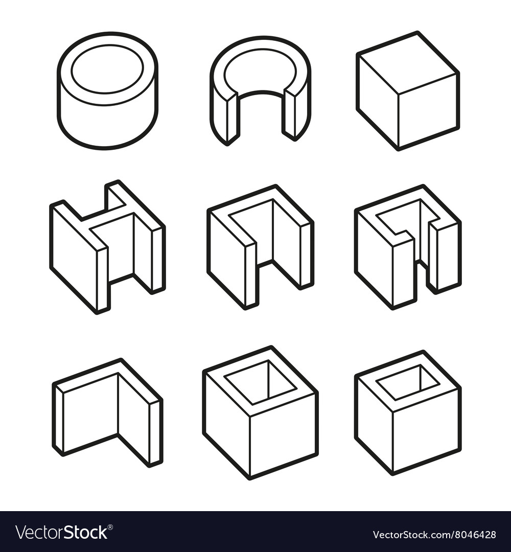 metal profiles icons set steel products royalty free vector