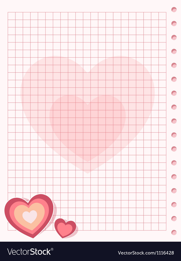 Pink squared paper sheet background with heart vector image