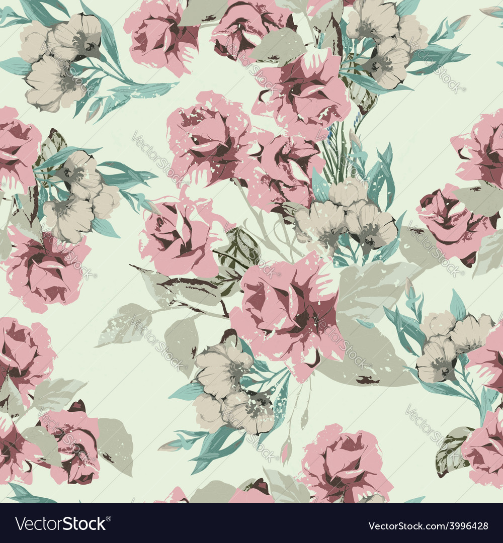 Seamless floral pattern with pastel pink roses