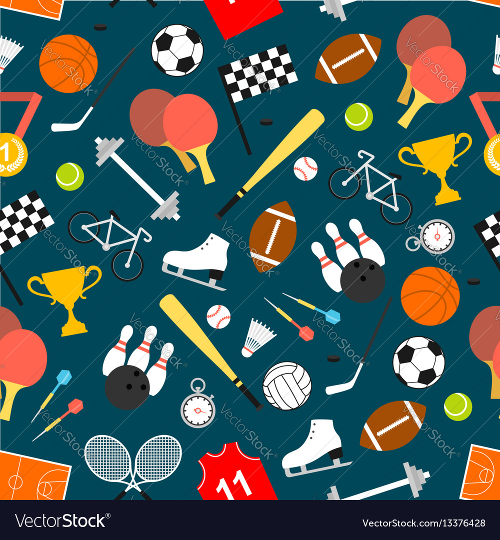 Sporting equipment and item seamless pattern