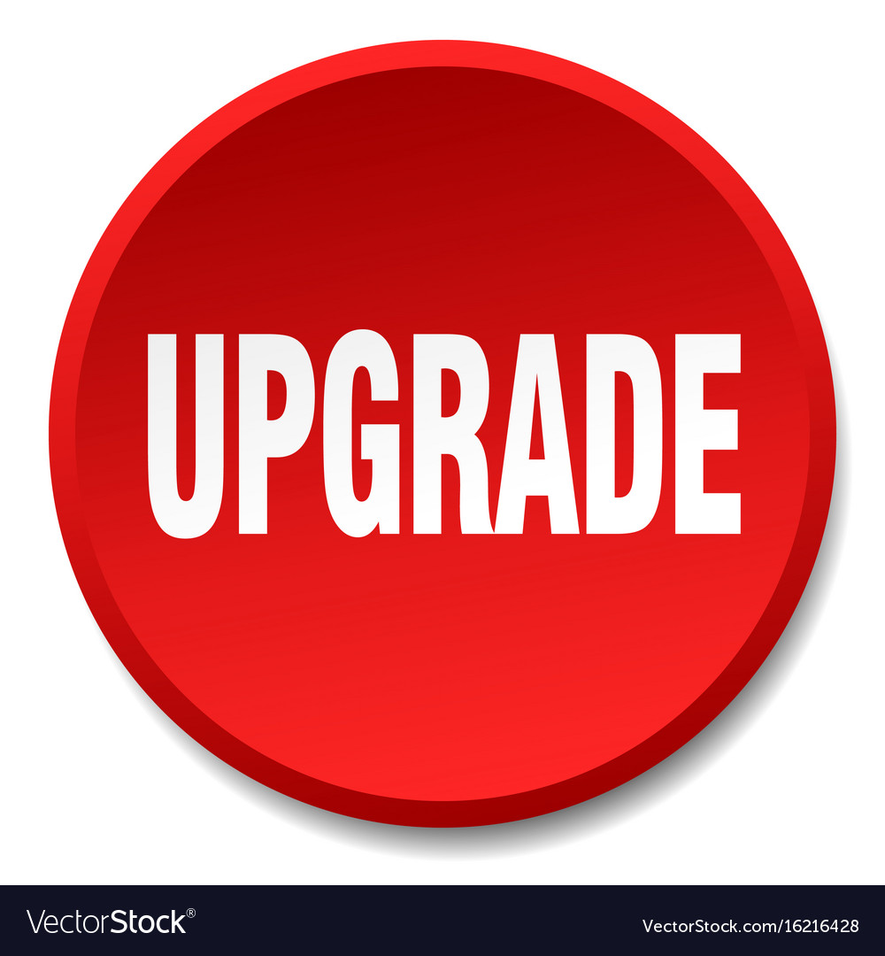 Upgrade Red Round Flat Isolated Push Button Vector Image