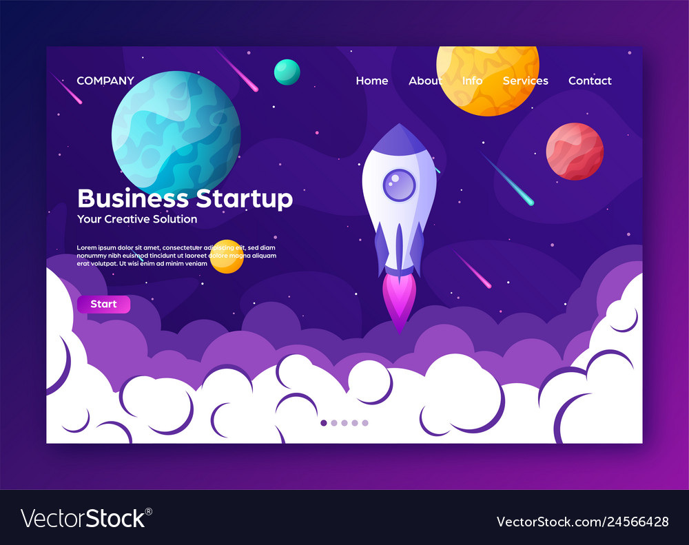 Website landing home page with rocket business