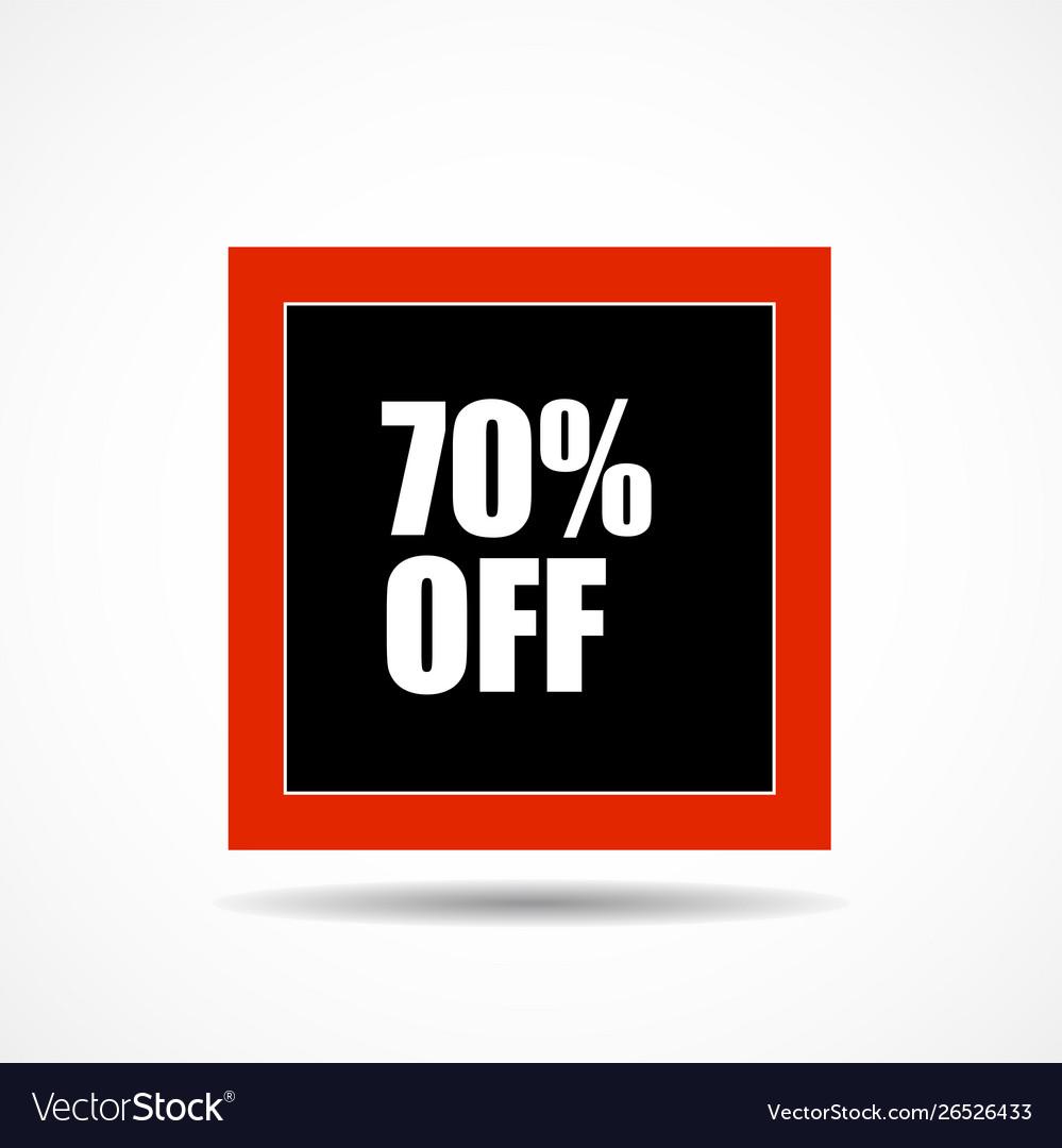 70 percen off sale label symbol in square shape