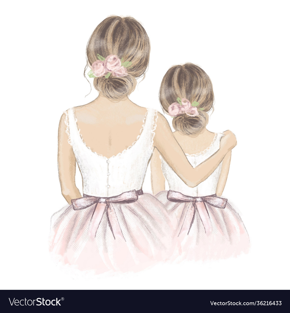 Bride and flower girl hand drawn