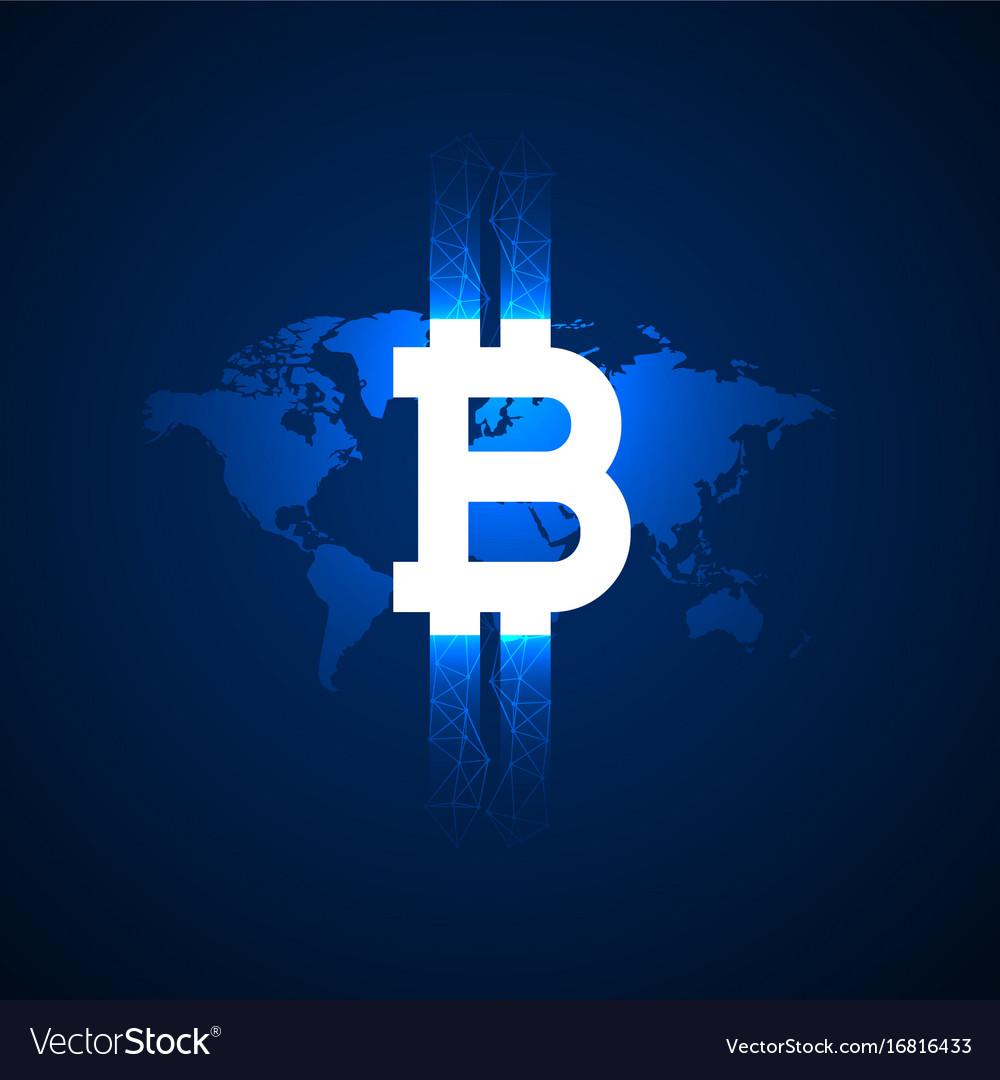 Digital bitcoin symbol above world map background