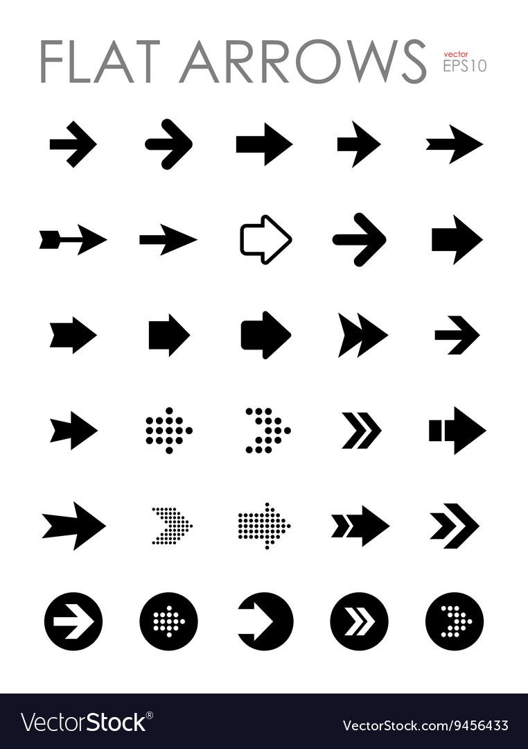 Flat arrow icons set vector image