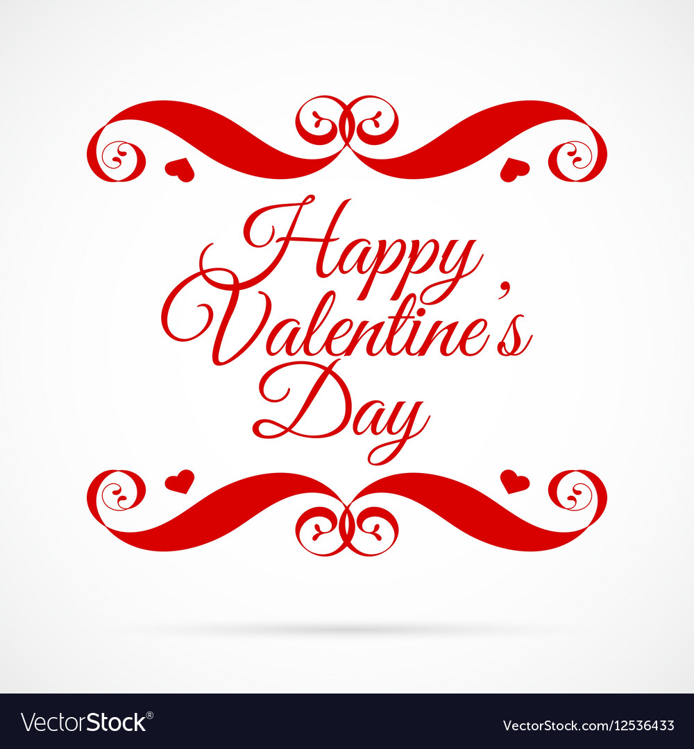 Happy Valentines Day Red Badge Over White vector image