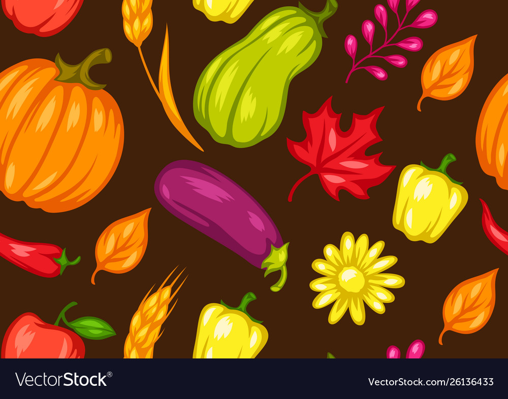 Harvest seamless pattern with fruits and