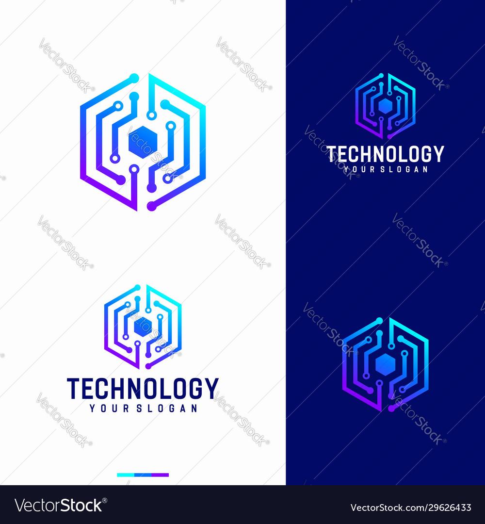 Hexagonal technology logo designs template