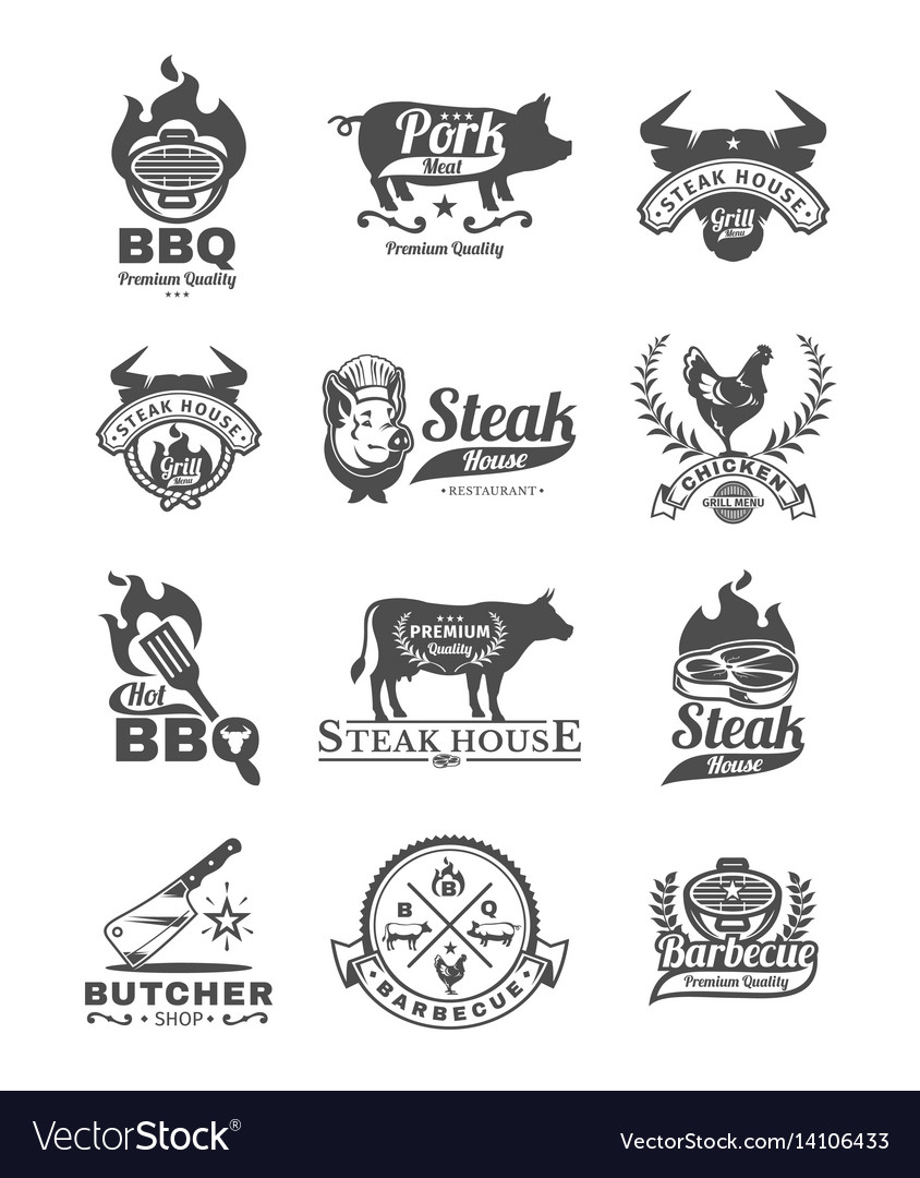 Set grill and barbecue badges stickers emblems