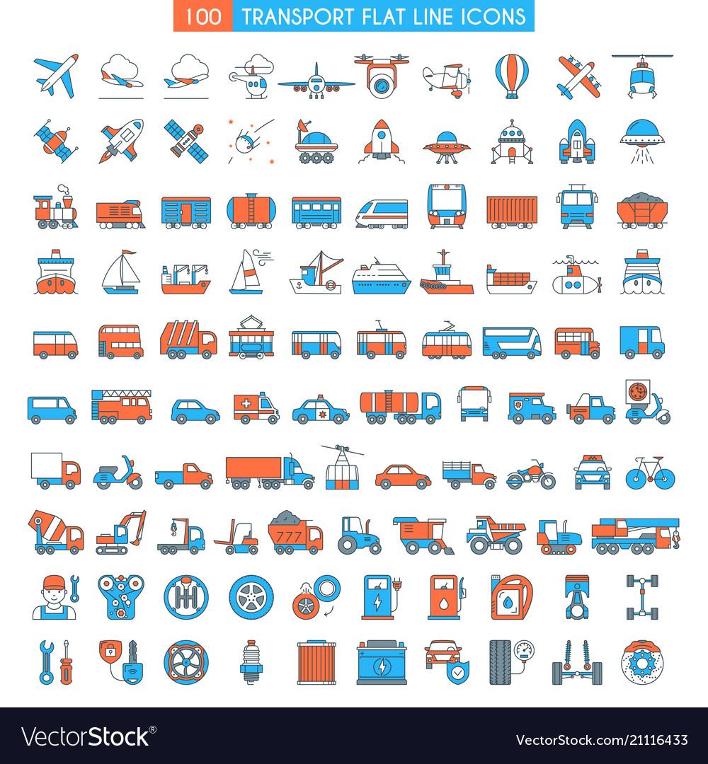 Vehicles big icons set