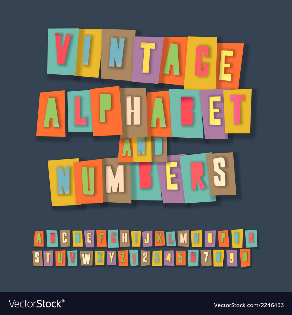 Vintage alphabet and numbers collage paper design