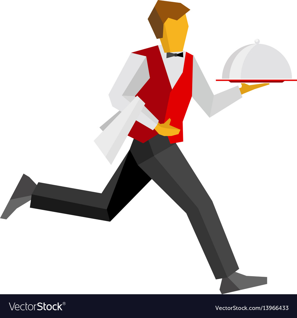 Waiter in black and red running with tray