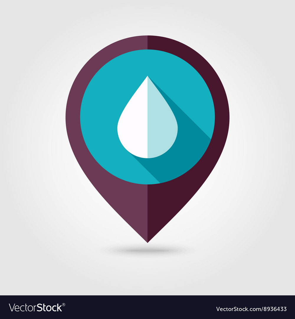 Water Rain Drop flat pin map icon Weather Vector Image on