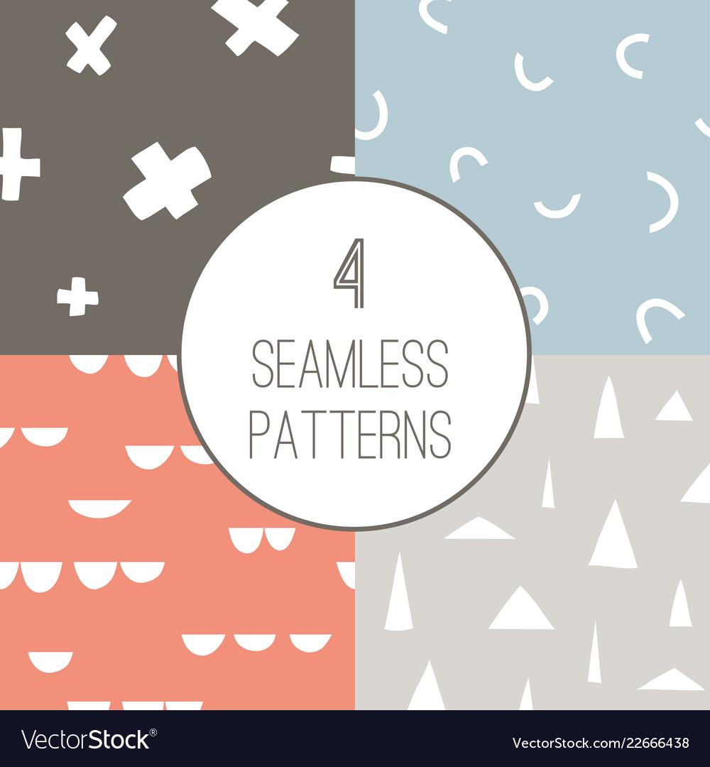 4 simple minimalistic seamless geometric patterns