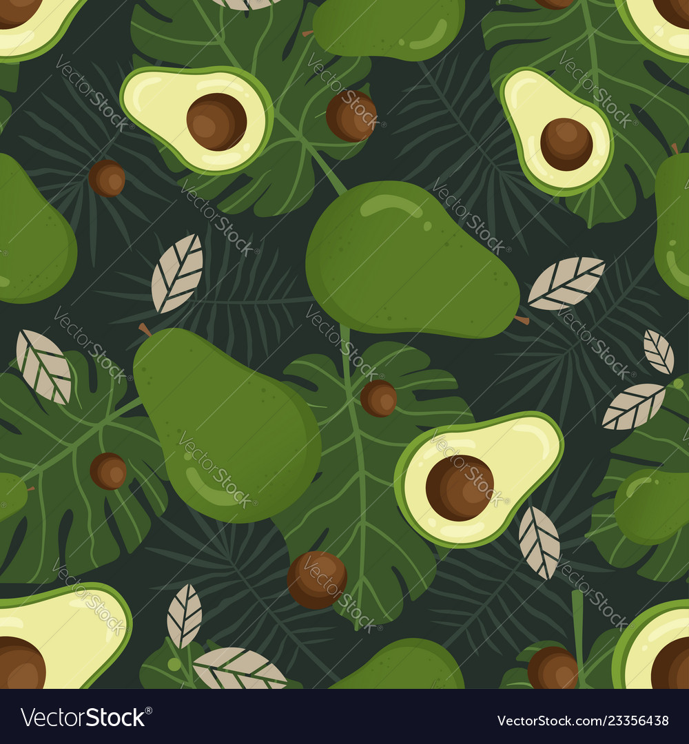 Avocado seamless pattern with tropical leaves