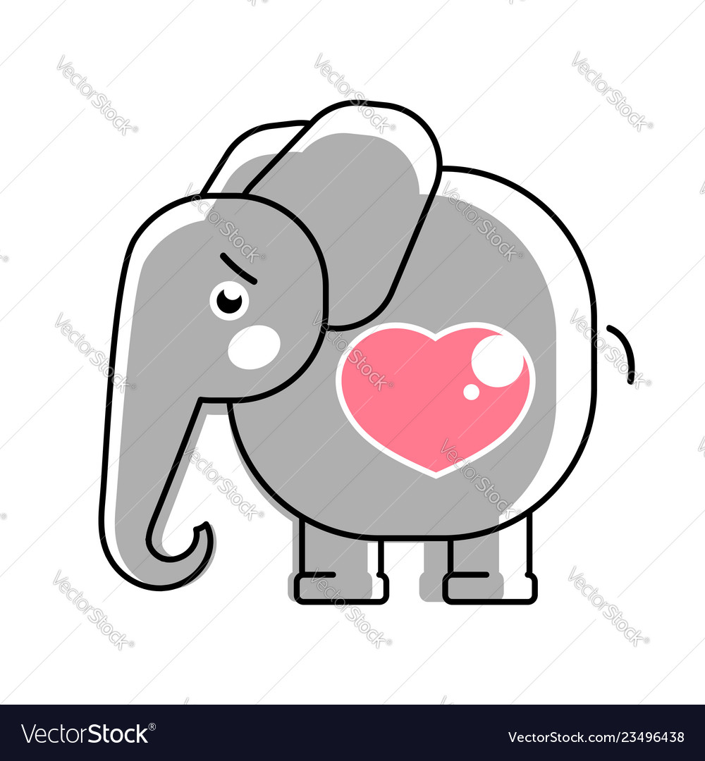 Baby elephant with a heart logo for