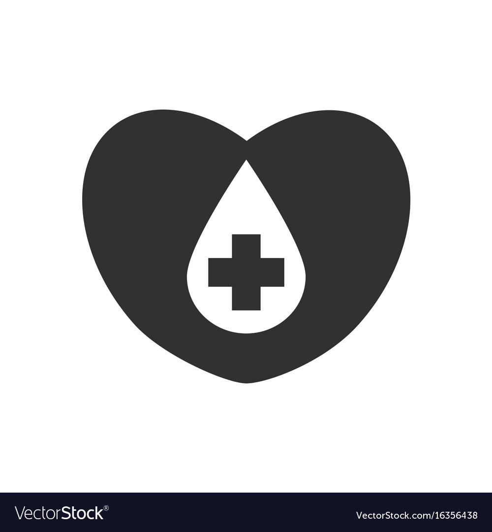 black icon on white background heart with a cross vector image