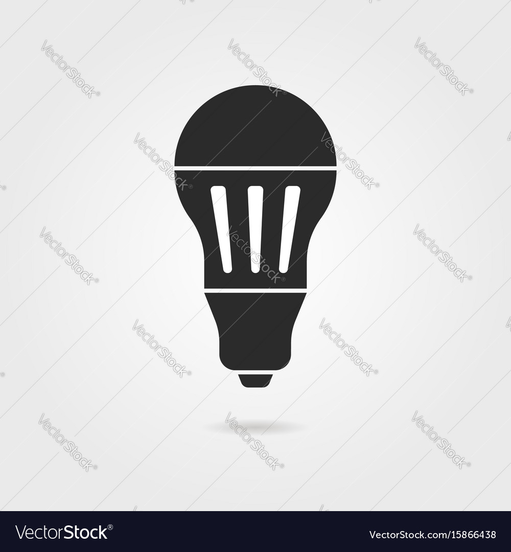 Black led bulb icon with shadow