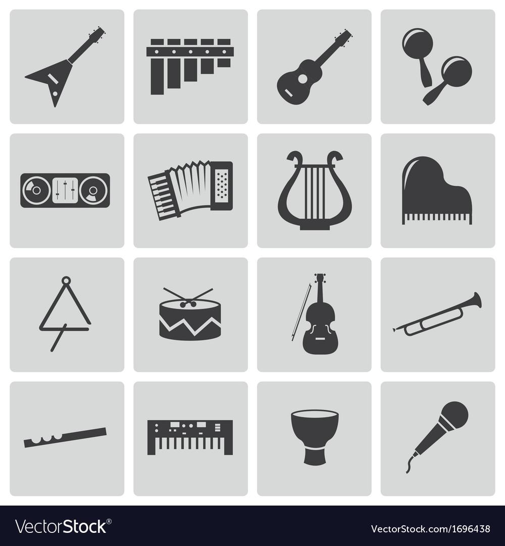 Black music instruments icons set