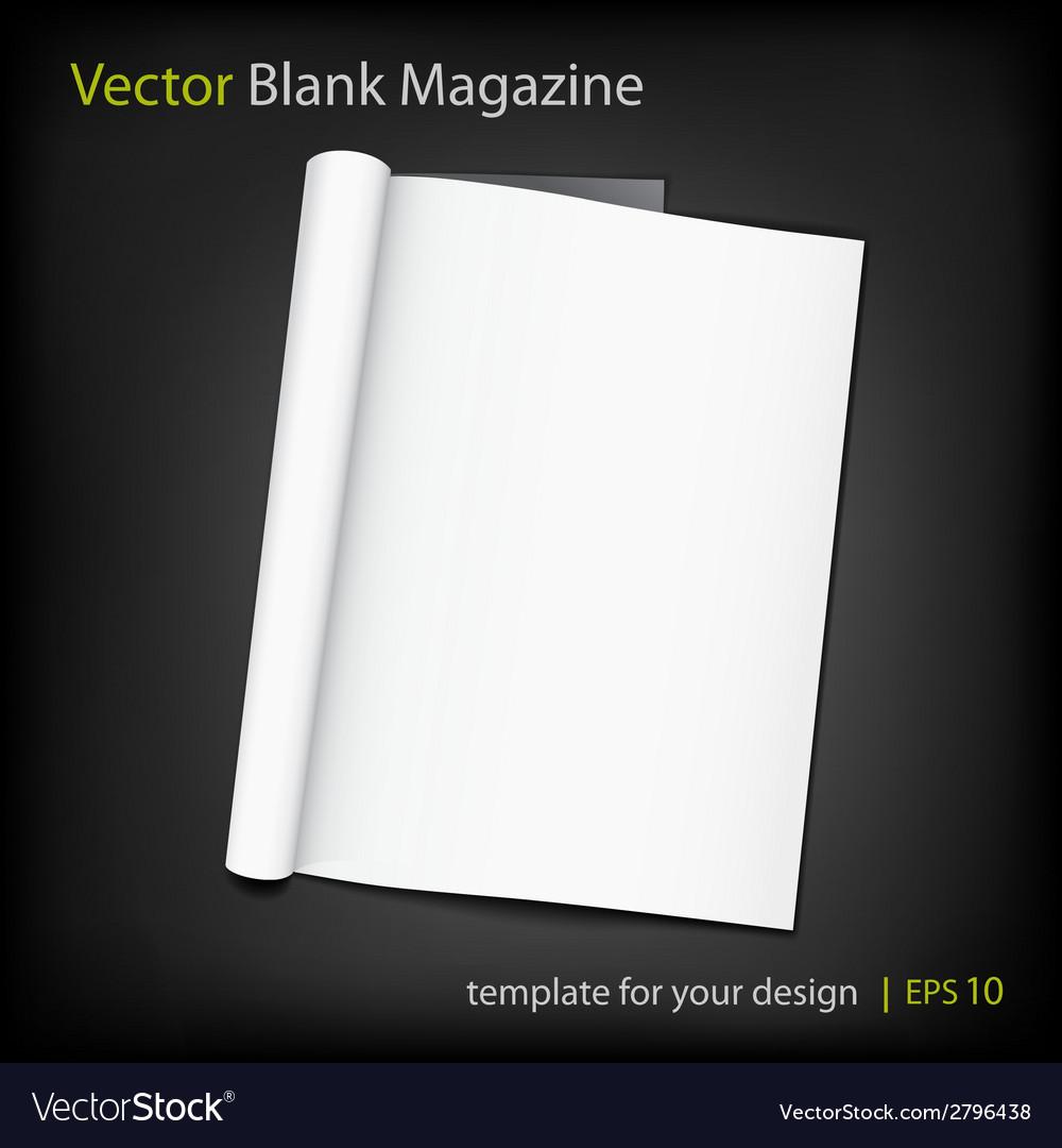 Blank page of magazine on black background