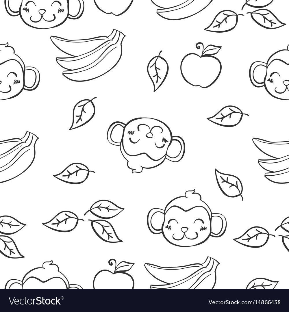 Doodle of monkey and banana