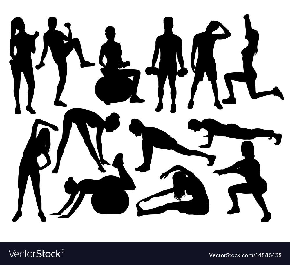 Elegant women silhouettes doing fitness exercise vector image